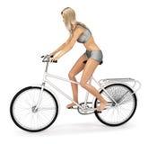 Meisje in bikini op fiets Stock Afbeeldingen