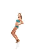 Meisje in Bikini op Witte Achtergrond Stock Afbeelding