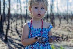Meisje binnen in blauwe kleding in gebrand bos na het verstand van de struikbrand stock afbeelding
