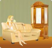 Meisje in binnenland vector illustratie