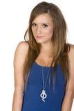 Meisje in Blauw Vest tegen Witte Achtergrond stock afbeelding