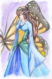 Meisje in blauwe kledings oranjegele vlinder Stock Afbeeldingen
