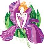 Meisje in bloemen, seizoenen stock fotografie