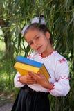 Meisje in borduurwerkboeken met kleuren Oekraïense vlag royalty-vrije stock afbeeldingen