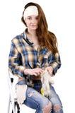 Meisje-bouwer met handschoenen Royalty-vrije Stock Foto's
