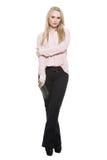 Meisje in broek en blous gedeeltelijke gevormde barrière stock afbeelding