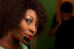 Meisje in call centre Stock Afbeelding