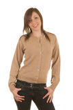 Meisje in cardigan stock afbeelding