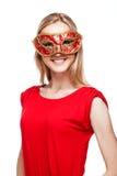 Meisje in Carnaval-masker Royalty-vrije Stock Afbeeldingen