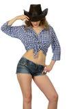 Meisje in cowboyhoed Stock Foto