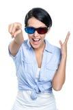 Meisje in 3D bril Stock Fotografie