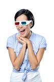 Meisje in 3D bril Royalty-vrije Stock Afbeelding