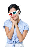 Meisje in 3D glazen Stock Foto