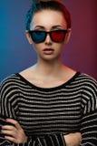 Meisje in 3D glazen. Studiofotografie Royalty-vrije Stock Fotografie