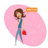 Meisje dat aan muziek luistert is het leven Stock Afbeeldingen
