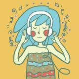 Meisje dat aan muziek luistert Vector illustratie royalty-vrije stock foto