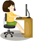 Meisje dat Computer met behulp van Stock Fotografie