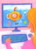 Meisje dat Computer met behulp van Royalty-vrije Stock Afbeelding