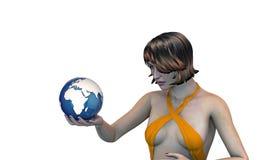 Meisje dat de aarde in haar hand houdt Royalty-vrije Stock Afbeeldingen