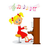 Meisje dat de piano speelt stock illustratie