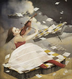 Meisje dat de viool speelt royalty-vrije illustratie