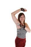 Meisje dat deodorant aanzet. royalty-vrije stock foto's