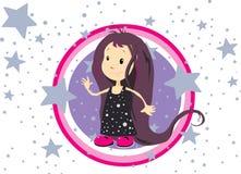 Meisje dat door sterren wordt omringd Stock Fotografie