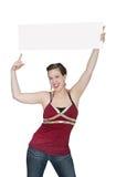 Meisje dat dun teken houdt Royalty-vrije Stock Afbeeldingen
