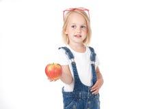 Meisje dat een appel houdt Stock Foto