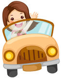 Meisje dat een auto drijft Stock Afbeelding