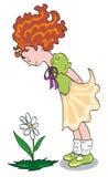 Meisje dat een bloem kijkt Royalty-vrije Stock Foto
