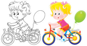 Meisje dat een fiets berijdt Royalty-vrije Stock Afbeeldingen