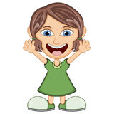 Meisje dat een groene kleding draagt Stock Foto's