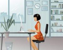 Meisje dat in een groot bureau werkt stock illustratie