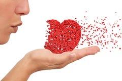 Meisje dat een hart blaast Stock Fotografie
