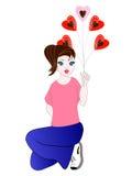 Meisje dat een hart houdt Stock Afbeeldingen