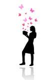 Meisje dat een vector van het fairytaleboek leest Stock Fotografie