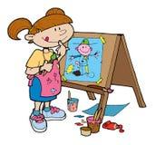 Meisje dat gelukkig op een schildersezel schildert Royalty-vrije Stock Afbeelding