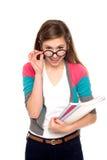 Meisje dat glazen draagt stock foto