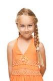 Meisje dat grappig gezicht maakt Stock Foto