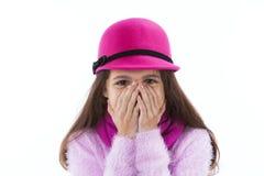 Meisje dat haar mond behandelt Royalty-vrije Stock Foto