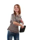 Meisje dat handtas werpt Stock Afbeelding