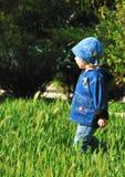 Meisje dat in het gras loopt Stock Foto's