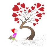 Meisje dat kus de boom geeft Royalty-vrije Stock Foto's