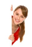 Meisje dat lege affiche houdt Stock Afbeeldingen