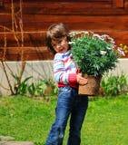 Meisje dat madeliefjes plant Stock Afbeelding