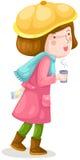 Meisje dat met koffie loopt Stock Fotografie