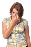 Meisje dat naar scheuren wordt verplaatst Stock Afbeeldingen