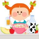 Meisje dat ontbijt heeft vector illustratie