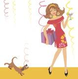 Meisje dat op een partij danst vector illustratie